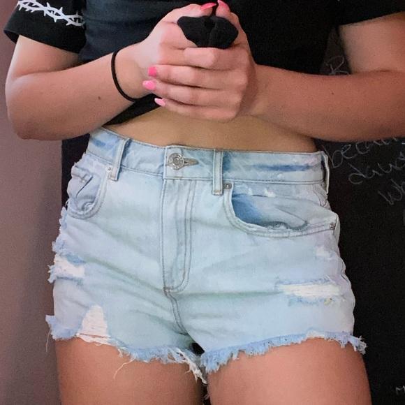 garage ripped jean shorts